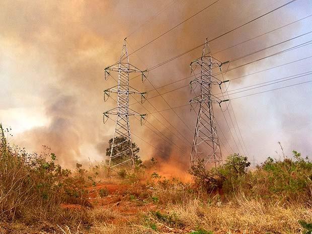 Chamas próximas a torre de fios de alta tensão em área da Floresta Nacional, em Brasília, na tarde desta segunda-feira (1º) (Foto: Gabriel Luiz/G1)