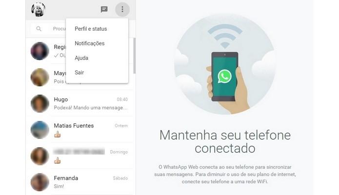 Procedimento parra fazer logout no WhatsApp Web (Foto: Reprodução/ WhatsApp)
