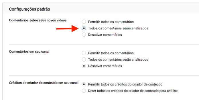 Opção para ativar a análise de comentários em um canal do YouTube (Foto: Reprodução/Marvin Costa)