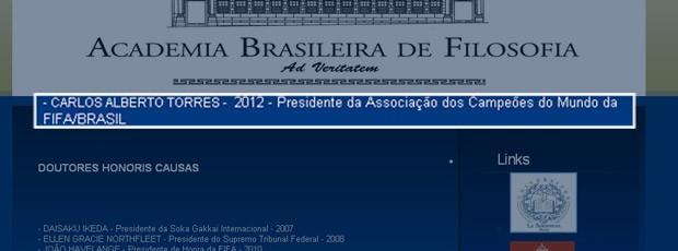 Carlos Alberto torres academia brasileira de filosofia (Foto: Reprodução)