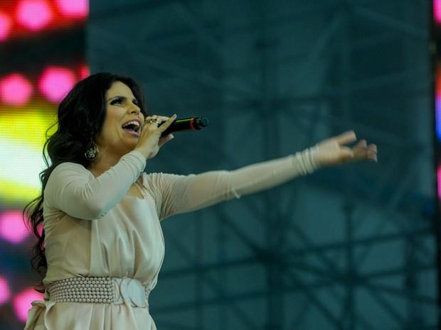 A cantora Aline Barros se apresenta no Festival Promessas (Foto: Flavio Moraes/G1)