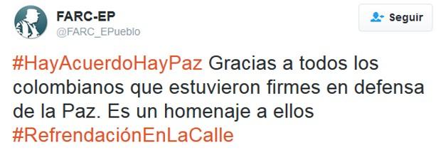 Twitter oficial das Farc confirma novo acordo: 'HáAcordoHáPaz Obrigado a todos os colombianos que estiveram firmes na defesa da paz. É uma homenagem a eles' (Foto: Reprodução/Twitter)