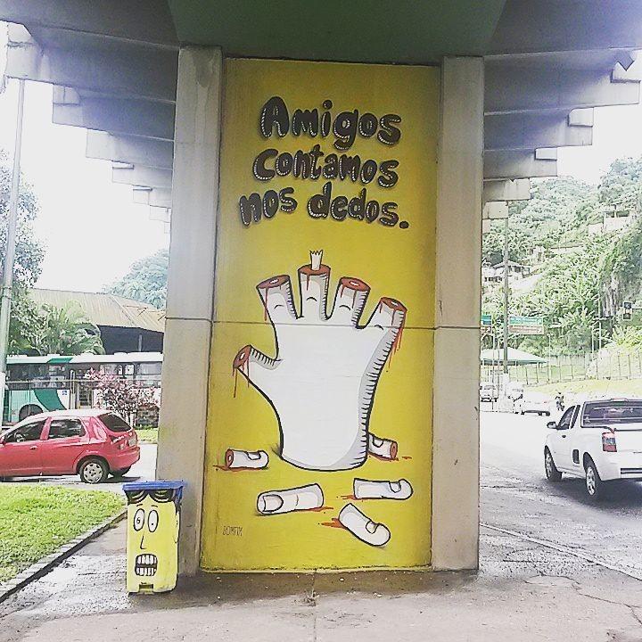 Grafitti do Projeto Pilares de Santos (Foto: Erico Bomfim / Estudio Bomfim )