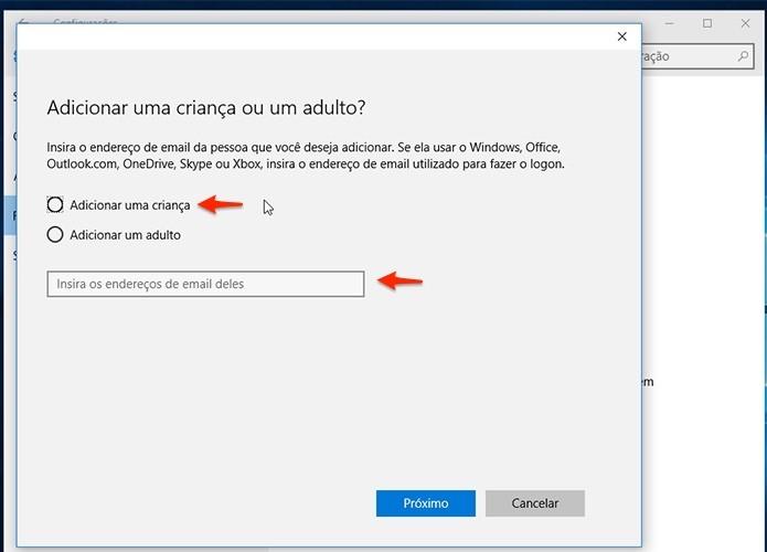 Se a criança não possui uma conta de email da Microsoft, é possível criar uma na hora. (Foto: Reprodução/Alessandro Junior)