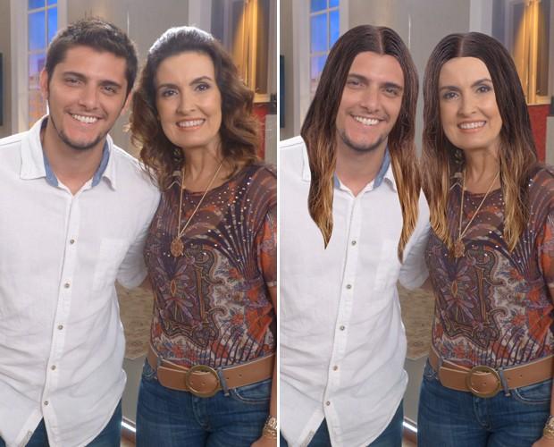 Gissoni e Fátima cabeludos (Foto: TV Globo/Encontro com Fátima)