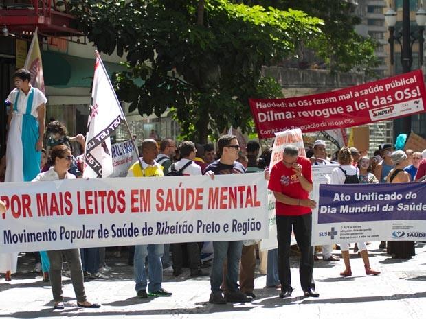 A União Geral dos Trabalhadores (UGT), através da sua secretaria de Saúde e Segurança do Trabalho, realiza ato no Dia Mundial da Saúde, nesta segunda-feira (7), no centro de São Paulo (SP). A concentração será na Praça da Sé.  (Foto: Dario Oliveira/Futura Press/Estadão Conteúdo)