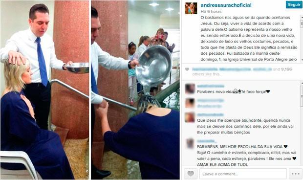 Andressa Urach é batizada em Igreja Universal em Porto Alegre (Foto: Reprodução/instagram)