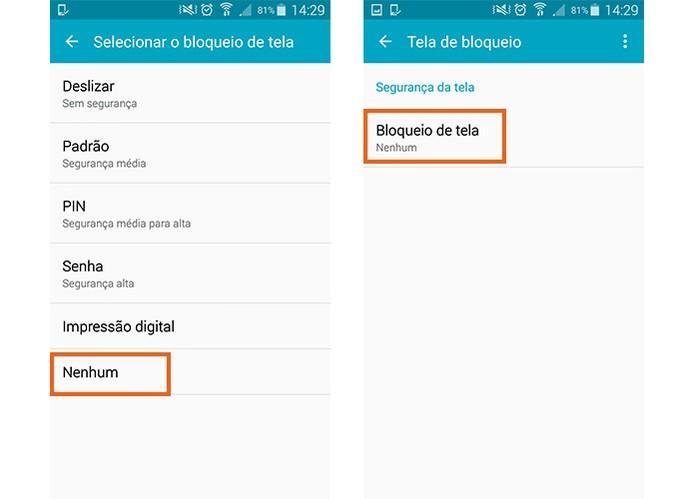 Selecione o item para aplicar nenhum bloqueio de tela no Galaxy S5 (Foto: Reprodução/Barbara Mannara)