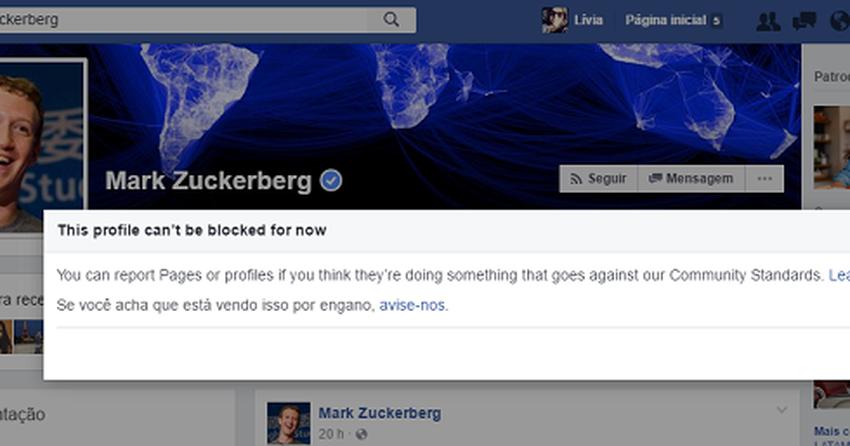 Facebook não permite bloquear perfil de Mark Zuckerberg e seus amigos