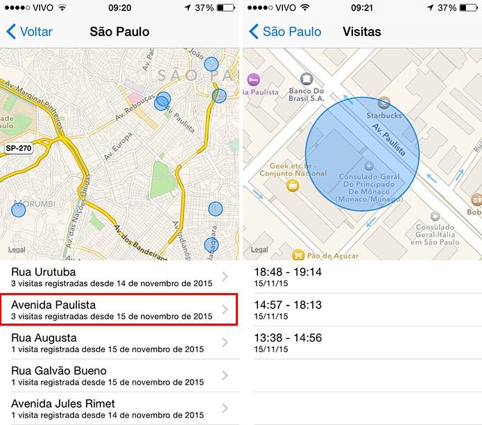 Veja no mapa locais que você visitou (Foto: Reprodução/Paulo Alves)