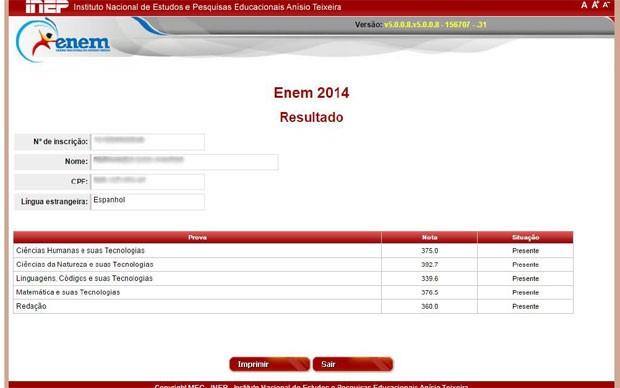 Candidato deve inserir CPF e senha e ver as notas nas provas do Enem (Foto: Reprodução/Inep)