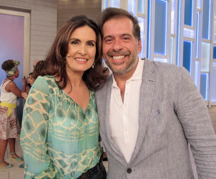 O ator Leandro Hassum com a Fátima depois do 'Encontro' (Foto: Priscilla Massena/Gshow)