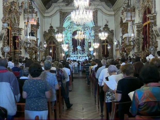 Missa Semana Santa São João del Rei, MG (Foto: Reprodução/TV Integração)