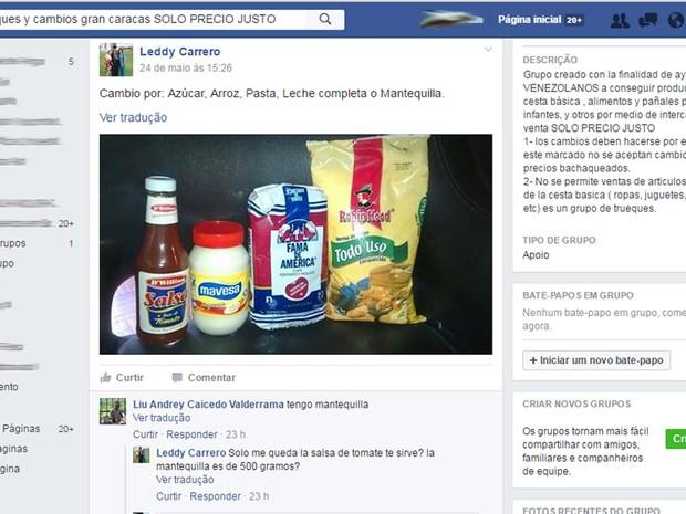 Venezuelano posta produtos para negociar troca com outros usuários em grupo no Facebook; páginas foram criadas para driblar a escassez nos mercados (Foto: Reprodução/ Facebook)