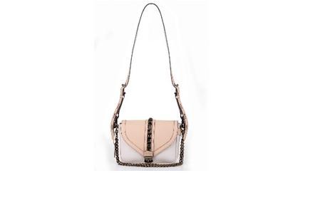 Bolsa bicolor nude e branco Zibba (R$ 1260) Divulgação