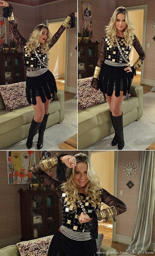Brunettý investe no look e nas poses. Uma autêntica guerreira! (Foto: Sangue Bom / TV Globo)
