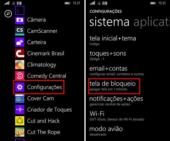 Abra as configurações do Windows Phone para colocar Facebook na tela de bloqueio (Foto: Reprodução/Elson de Souza)