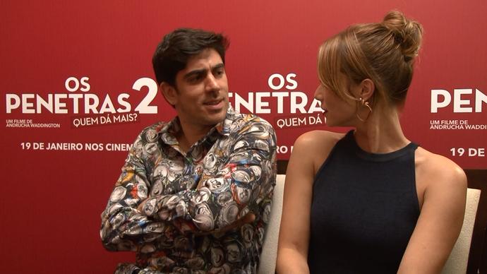 Marcelo Adnet e Mariana Ximenes nos bastidores do filme. (Foto: Divulgação/ TV Gazeta)