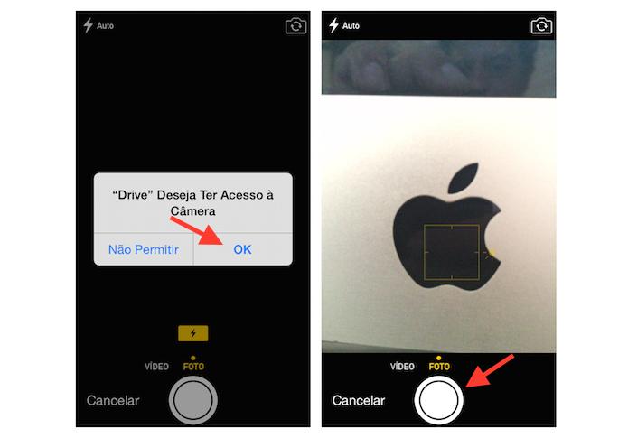 Permitindo que o Google Drive use a câmera do iPhone (Foto: Reprodução/Marvin Costa)
