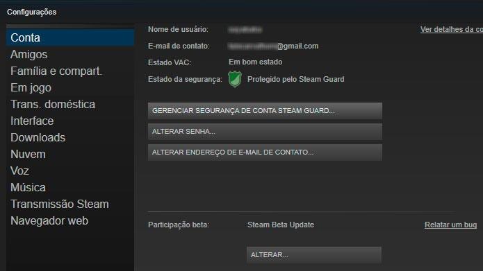 Confirme o email e verifique se o ícone Steam Guard está ativado (Foto: Reprodução/Tais Carvalho)