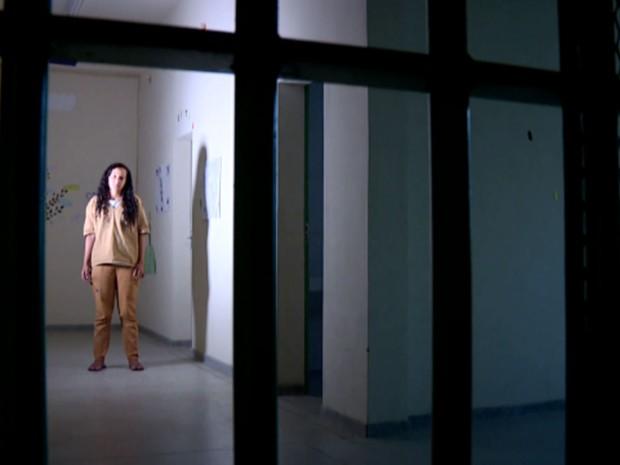 Camila Viana Gallindo na Penitenciária de Mogi Guaçu (Foto: Reprodução EPTV)