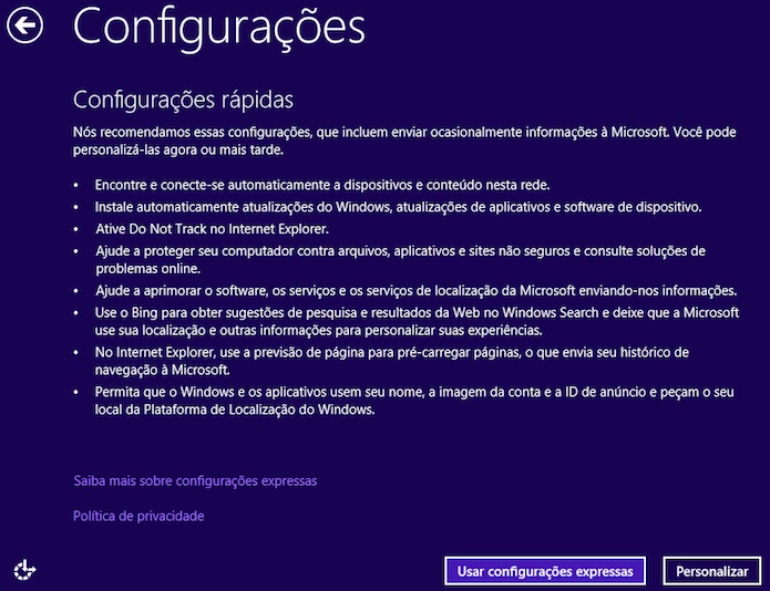 Configuração inicial do Windows 8