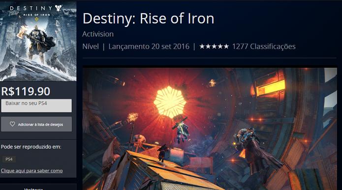 Destiny - Rise of Iron pode ser adquirido separadamente ou na Coletânea (Foto: Reprodução/Victor Teixeira)