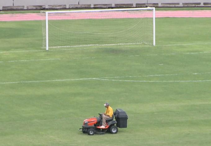 Castelão (MA) recebendo melhorias para jogo da Seleção Brasileira (Foto: Reprodução/TV Mirante)