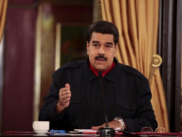 President da Venezuela, Nicolas Maduro, faz pronunciamento no Palácio Miraflores, em Caracas, na quinta-feira (10) (Foto: Miraflores Palace/ Reuters )