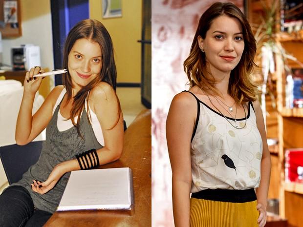 Nathalia Dill em Malhação em 2008 como Débora e agora como Laura (Foto: João Miguel Júnior/ Grupo Globo e Artur Meninea/ Gshow)