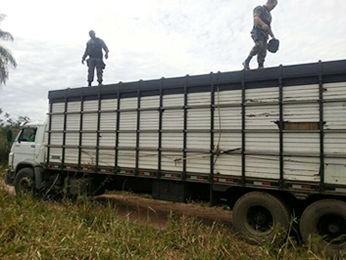 Grupo foi flagrado transportando mercadorias em caminhões. (Foto: Gefron/MT)