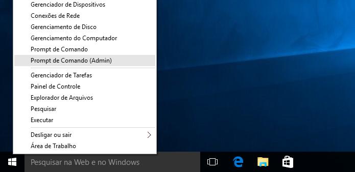 Acessando a opção Prompt de Comando (Admin) no Windows 10 (Foto: Reprodução/Edivaldo Brito)
