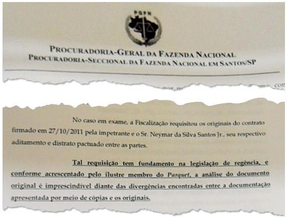 """Documento da Procuradoria-Geral da Fazenda aponta """"divergências"""" nos contratos da venda ao Barça (Foto: reprodução)"""