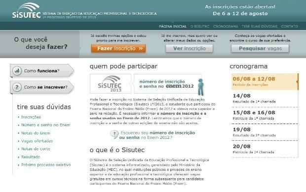 Página inicial das inscirções do Sisutec (Foto: Reprodução/ MEC)