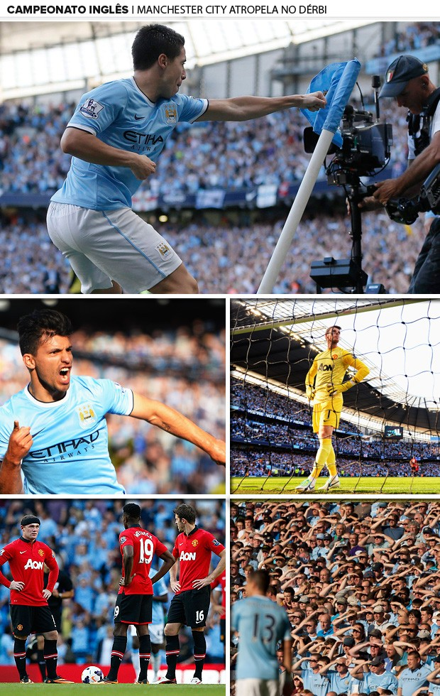 mosaico manchester united x manchester city (Foto: Getty Images)