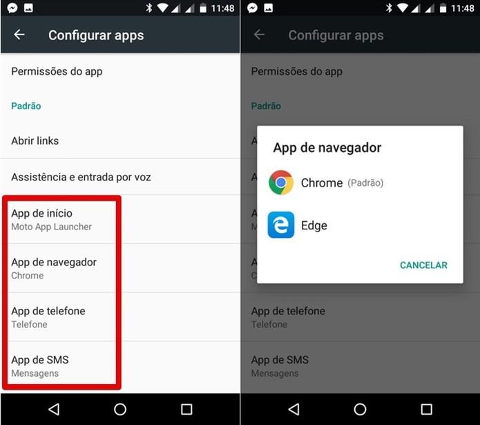 Alterando um aplicativo padrão (Foto: Reprodução/Helito Bijora)