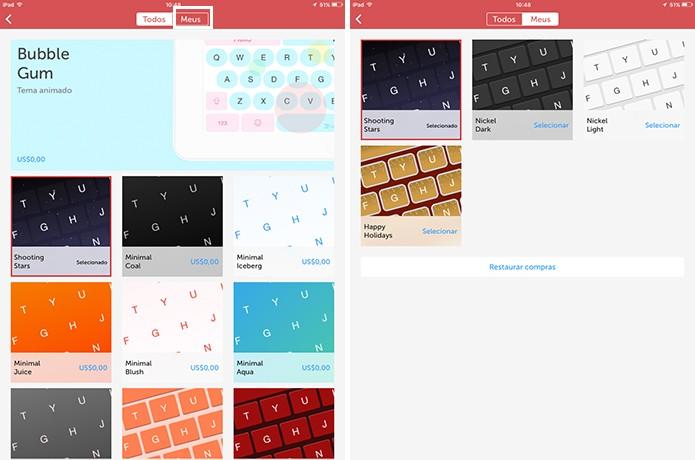 SwifKey para iOS reúne temas baixados na guia Meus (Foto: Reprodução/Elson de Souza)