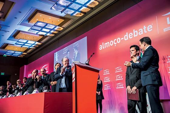 Em um evento do Lide, Doria recebeu o juiz Sergio Moro. O evento teve recorde de 586 empresários na plateia (Foto: Chello Fotógrafo/ Futura Press/Estadão Conteúdo)