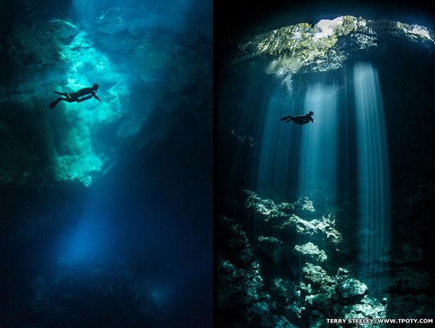 A foto que mostra uma jornada subaquática em um complexo de cavernas na Riviera Maia ganhou na categoria Espírito de Aventura (Foto: Terry Steeley/www.tpoty.com/BBC)