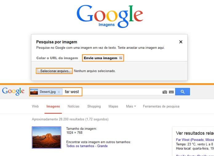 Busca de imagens usando uma foto salva no computador (Foto: Reprodução/Barbara Mannara)