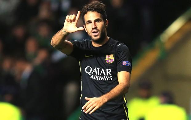 Fabregas comemora gol do Barcelona contra o Celtic (Foto: Getty Images)
