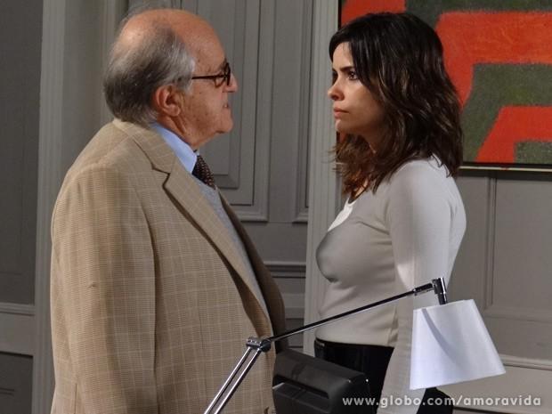 Lutero e Aline se enfrentam (Foto: Amor à Vida / TV Globo)