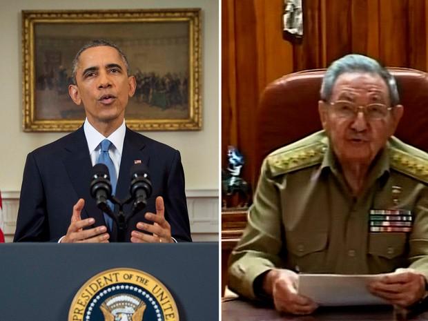 17/12 - Combinação de fotos mostra os presidentes Barak Obama e Raul Castro durante o anúncio da retomada das relações diplomáticas entre EUA e Cuba (Foto: Doug Mills/Pool/Reuters, Reprodução/Reuters)