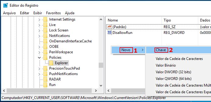 Criando uma nova chave no registro do Windows abaixo de Explorer (Foto: Reprodução/Edivaldo Brito)