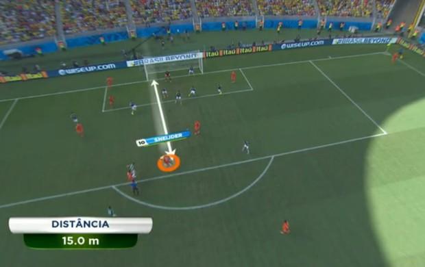 No detalhe: Sneijder contra o México (Foto: Reprodução / SporTV)