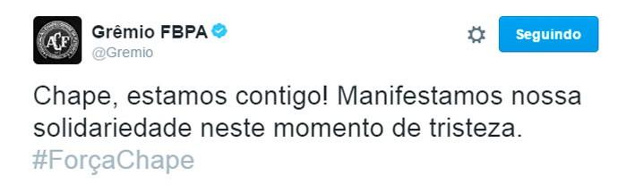 Twitter Grêmio tragédia com a Chapecoense (Foto: Reprodução)