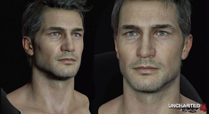 Nathan Drake possui muitos detalhes em Uncharted 4, como rugas e pelos brancos (Foto: Reprodução/YouTube)