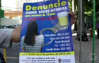 Campanha contra venda de bebidas alcoólicas para menores é feita em Barra Mansa (Reprodução/TV Rio Sul)