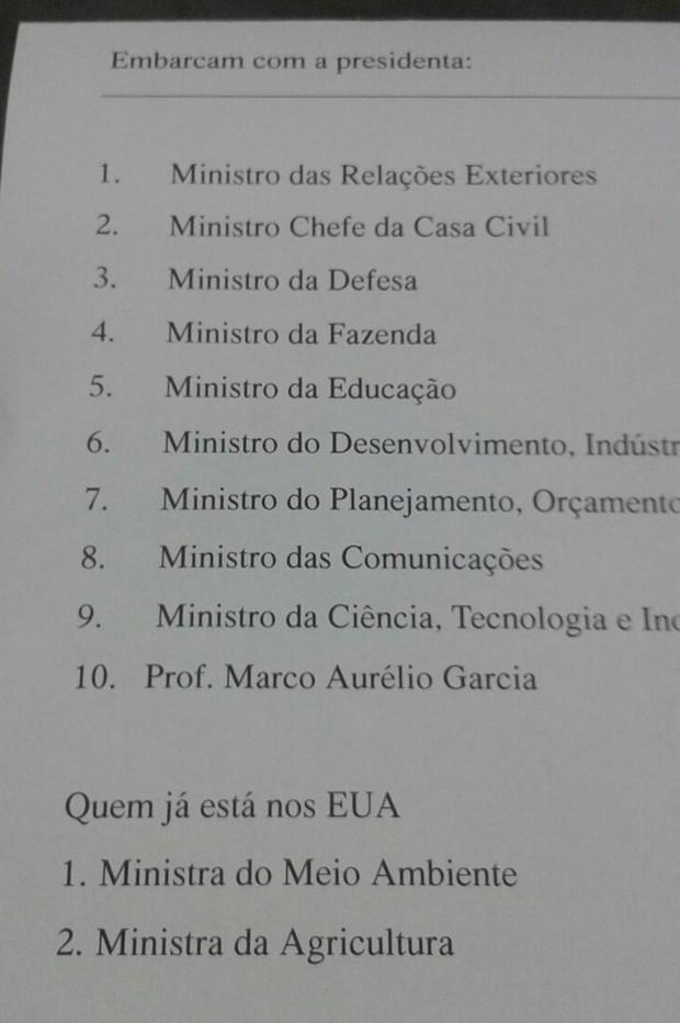 Lista divulgada pela assessoria do Planalto com os ministros que viajariam com Dilma para os EUA  (Foto: Reprodução)