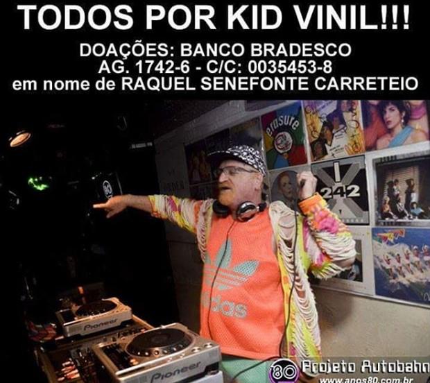 Família, amigos e fãs pedem doações para Kid Vinil (Foto: Reprodução)